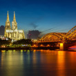 Cologne Cathedral and Hohenzollern Bridge, Germany — Stock Photo #14289761