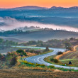 Tuscany landscape at sunrise - 图库照片
