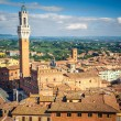 Aerial view over city of Siena - Stock Photo