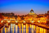 St. Peter's cathedral at night, Rome — 图库照片