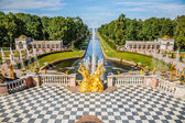 Grand trapsgewijs in peterhof, sint-petersburg — Stockfoto