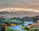 Tuscany landscape at sunrise — Stock Photo