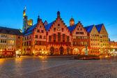 Historic Center of Frankfurt at night — Stock Photo
