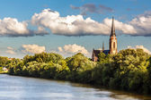 Church on Main river — Stock Photo