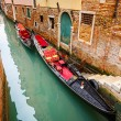 Gondolas on canal in Venice — Foto Stock
