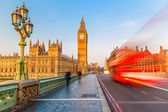 Big Ben and red double-decker bus, London — Stock Photo
