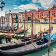 Gondolas on Grand canal in Venice — Stock Photo