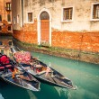 Gondolas on canal in Venice — Stock Photo