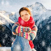 Attractive girl in snowy winter Alps — Stock Photo