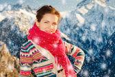 Attractive girl in snowy winter Alps — Stock Photo