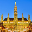 Stock Photo: Rathaus and Christmas market in Vienna