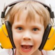 Boy with headphones — Stock Photo