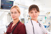 Two female doctors in ICU — Stock Photo