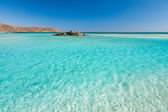 Turquoise water of Elafonisi Beach. — Stock Photo