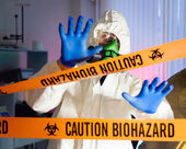 Scientist hazardous biochemicals laboratory. — Stock Photo