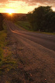 Side of road on sunrise — Stock Photo