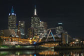 Melbourne CBD and footbridge — Stock Photo