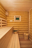 Log sauna with window — Stock Photo