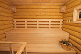 Log sauna inside — Stock Photo
