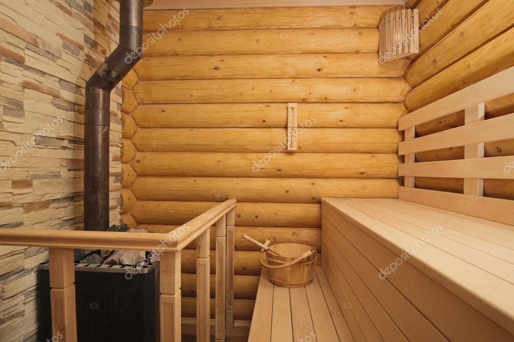 Sauna dziennika z nagrzewnicy — Zdjęcie stockowe © illarionovdv #32953007