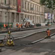 Tram track works — Stock Photo