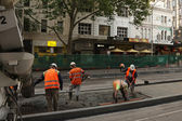 Concreting tram platform — Stock Photo