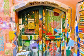 Colourful windows and wall in Liguria village — Stock Photo