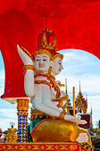 Lord Brahma statue in Buddhist temple - Thailand — Stock Photo