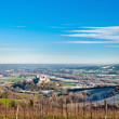 Famous Torrechiara Castle and valley — Stock Photo