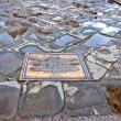 Unesco plate in Piazza dei Miracoli in Pisa and leaning tower reflected — Photo