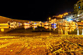 Night long exposure view of ancient port in Piombino, Tuscany - Italy — Stock Photo