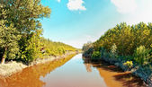 River in Italian Po valley running among fields — Stock Photo
