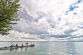 Dramatic sky over Garda lake - Italy — Stock Photo