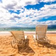 Empty deckchairs on Makena Beach in Maui, Hawaii — Stock Photo