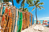 Surfboards lined up in the rack at famous Waikiki Beach — Stock Photo