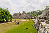 Tourists visit Palenque ruins in Chiapas, Mexico — Stock Photo