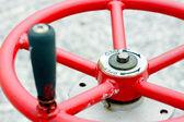Red industrial wheel valve — Стоковое фото