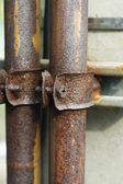 Clamp collar for old pipe with screw — Stock Photo