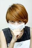 Woman wearing protective mask — Stock Photo