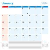 Calendar-Planner 2014 January — Stock Vector