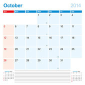Calendar-Planner 2014 October — Stock Vector