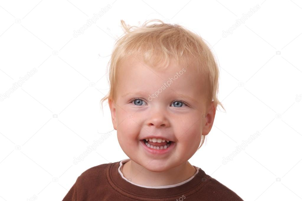 Portrit of a happy toddler on white background — Stock Photo #12438300