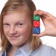Girl with dices — Stock Photo