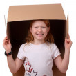 Girl with box — Stock Photo