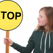 Teen holds sign — Stock Photo