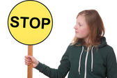 Teen holds sign — Foto Stock