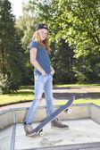 Skateboard girl — Stock Photo