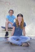 Skateboard kinder — Stockfoto