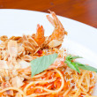 Spaghetti Almond shrimp — Stock Photo
