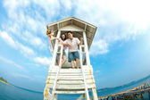 Happiness couples with blue sky — Stock Photo